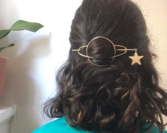 Brass or Sterling Silver Saturn Hair Slide Two Piece Hair Holder Hair Accessory Planet Space