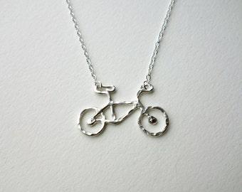 Tiny Sterling Silver Bike Pendant by Rachel Pfeffer