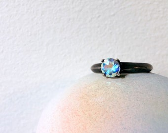 Disco Prism Topaz Ring in Black or Brushed Sterling Silver Alternative Engagement Ring Bright White Iridescent Blue Green Topaz Solitaire
