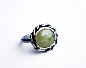 Braided Sterling Silver Yellow Sapphire Handmade Ring