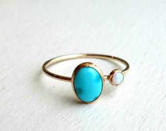 Turquoise and Opal Orbit Ring in 14k Gold Fill Ring - Delicate two stoned rachel pfeffer handmade ring with turquoise and opal stones