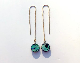 Abalone Ear Threads in 14k Gold Filled