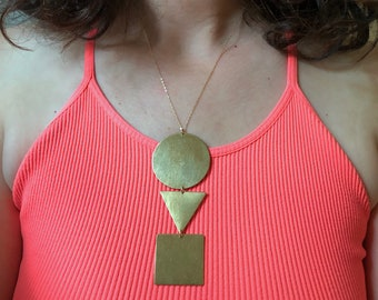 Circle Triangle Square Brass Pendant Squid Games Abstract Statement Necklace