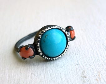 Turquoise and Coral Oxidized Sterling Silver Ring