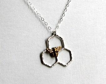 Mini Sterling Silver Honeycomb Necklace by Rachel Pfeffer