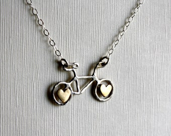 Ready to Ship- Tiny Sterling Silver Bike with Brass Hearts