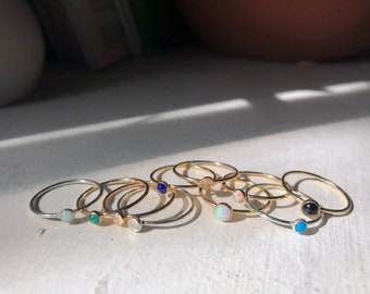 14k Gold Filled Stacking Teeny Stone Rings 3mm with Turquoise, moonstone, opal, onyx, malachite