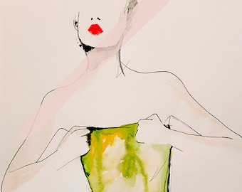 Figure 6 - Fashion Illustration Art Print, Mixed Media Painting by Leigh Viner