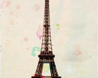 Aquarelle - Eiffel Tower Art Print, Paris Landscape Photography, Mixed Media by Leigh Viner