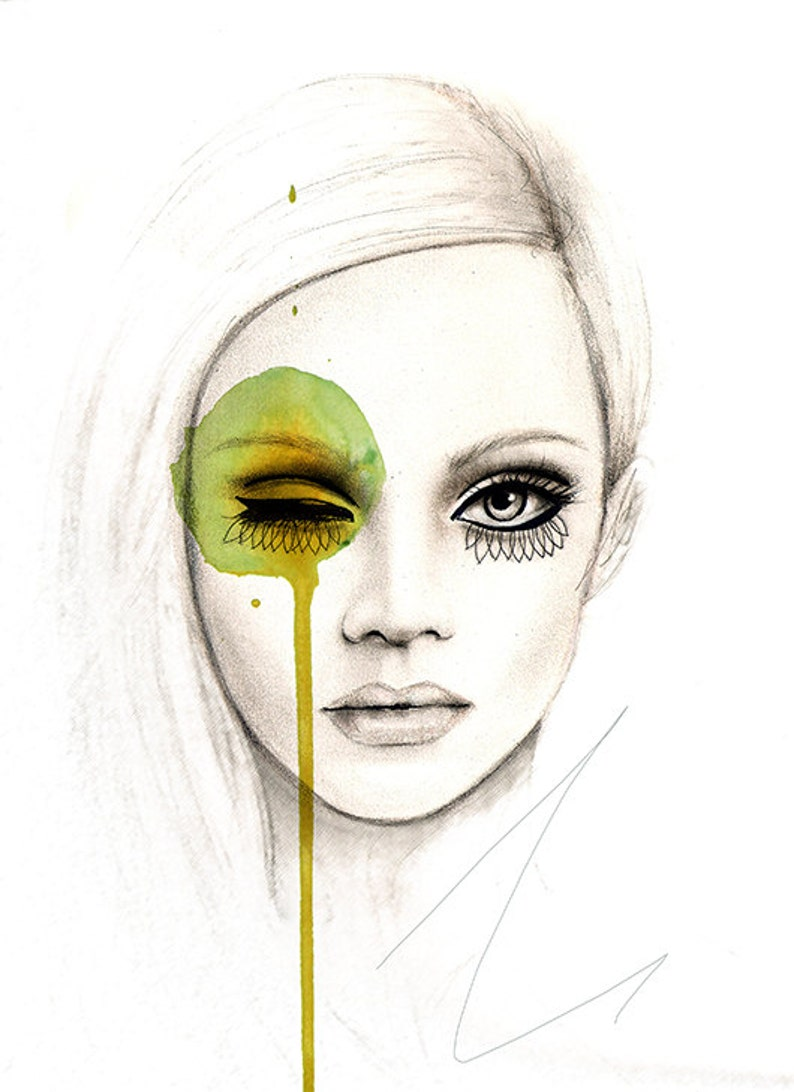 Fused  Fashion Illustration Portrait Art Print image 1