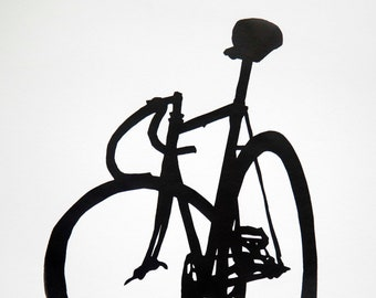 Velox Ace Track Bike Silhouette -  Bicycle Art Print, Bike Art Print, Vintage Campagnolo Bicycle Art, Bicycle Poster Print