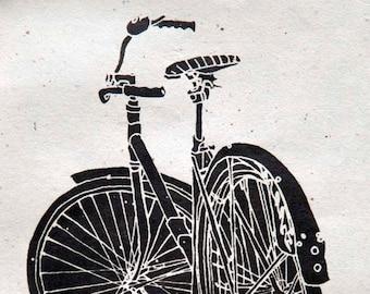Cool Cruiser Bike Mock Wood Block - Bicycle Art Print