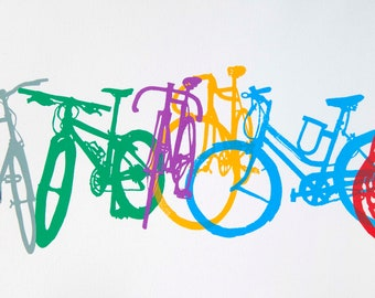 Colorful Row Bicycle Silhouettes Cycling -  Bicycle Art Print, Bike Art Print,  Bicycle Art, Bicycle Poster Print
