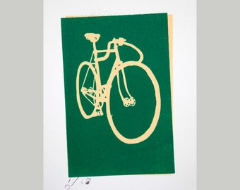 Vintage, Classic  Schwinn Track Bicycle Green on Yellow Bike Art Print, Vintage Bicycle Screen Print, Bike Wall Art, Cyclist Gift, Bike Art