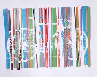 Road Racing Bicycle Bike Art Print  Cycling Art : Classic Colorful Road Bike in Motion