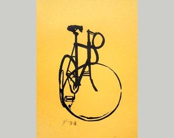 Old Style Track Bike no. 6 on Yellow - Bicycle Art Print, Bike Art Print, Vintage Classic Track Bicycle Art