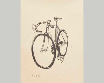 Bike Art Print - Classic Cinelli Road Bicycle - yellow Print, Vintage Bicycle Screen Print, Bike Wall Art, Cyclist Gift, Bike Art