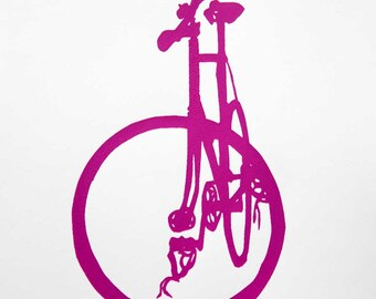 Fixie Bike in Fuschia - Bicycle Art Print