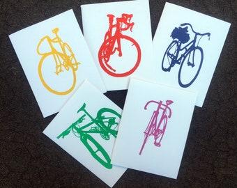 Bicycle Art -  Silhouette Notecard Set - Bicycle Art Print, Bike Art Print,
