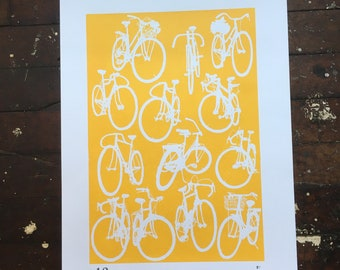 Classy, sophisticated Yellow and White Bicycle Print - Large Classic Bicycle Cycling Chart Print Yellow