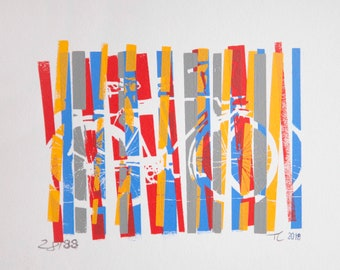Ukrania Primary Colors off Register Bike Bicycle Print - Bicycle Art Print, Bike Art Print, Bicycle Wall Art