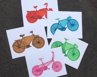 Bicycle Art -  All Kinds of Bikes Notecard Set - Bicycle Art Print, Bike Art Print,