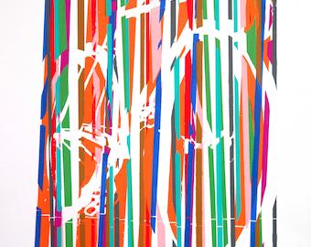 Track Racing Bicycle Bike Art Print  Cycling Art : Classic Colorful Track Bike in Motion