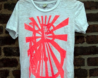 Bicycle Art Cycling Print Fixie  - Sunburst Track Bike Burnout T Shirt