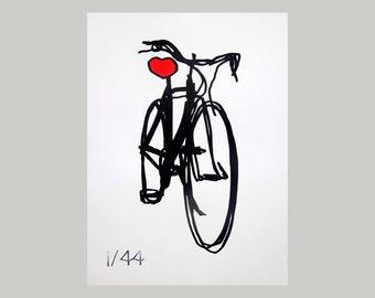 Bicycle Love Heart Seat -  Bicycle Art Print, Bike Art Print, Vintage Campagnolo Bicycle Art, Bicycle Poster Print