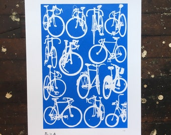 Classy, sophisticated Blue and White Bicycle Print - Large Classic Bicycle Cycling Chart Print Blue