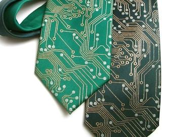 Circuit Board Men's Necktie - Metallic Copper and Silver Ink on Green or Black Necktie, circuitboard