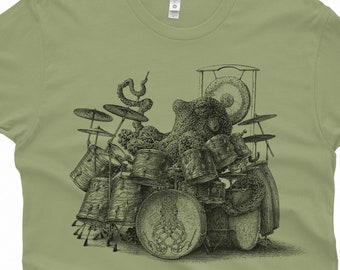 Octopus T-Shirt Gift - Men's Octopus Shirt - Octopus Playing Drums Shirt - Men's Graphic Tee Octopus Drummer Octopus Gifts Music Gift