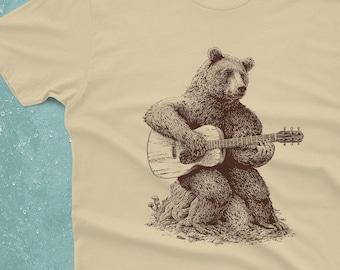 Bear T-Shirt Gift - Bear Playing Guitar Shirt - Men's Bear Shirt - Men's Graphic Tee Bear Guitar Bear Gifts Music Gift
