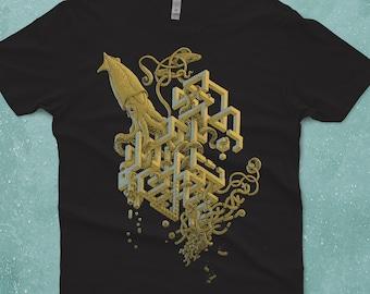 Impossible Squid Shirt - Men's T-shirt - Tee Shirt - Giant Squid - Boyfriend T-shirt - Weird Shirt Husband Gift Unique Screen Printed Tee