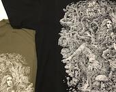 Mother Nature's Daughter - Forest Shirt - Tree Art - Forest Art - Waterfalls Long Hair Mushrooms T-shirt Woman Drawing