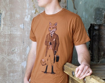 Dapper Fox T-shirt - Men's Tshirt - Men's Gift - Animal Print - Husband Gift - Fox Shirt