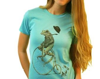 Women's Animal Shirt - Penny Farthing Frog T-shirt - Animal on Bike Shirt - Frog Gift - Bicycle Tshirt - Tee Shirt Women