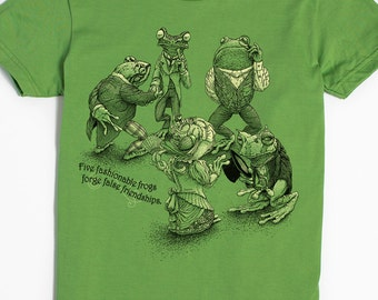 Frog Gift - Women's Screen Print Shirt - Funny Tshirts - Frog Art - Creative Gifts - Toad Shirt - Small through 2X Plus Size - Animal Art