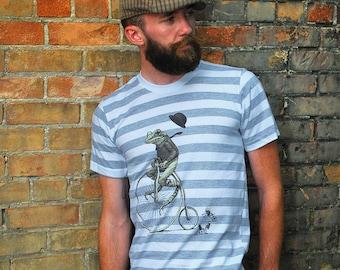 3X Frog T-shirt - Men's Bike T-shirt - Animal on Bicycle Tee - Penny Farthing - Animal Lover - Brother Gift - Frog Shirt