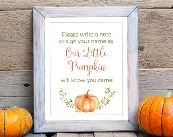 Our Little Pumpkin Guest Book 5x7, 8x10 Printable Baby Shower Guestbook Sign, Pumpkins and Autumn Leaves, Gender Neutral, Instant Download