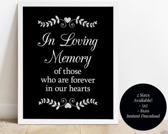 Forever in Our Hearts Memorial Sign Wedding Reception Presents Table Printable Eucalyptus Laurels Shower Shower In Loving Memory PCEUWS