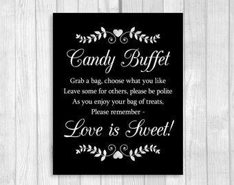 wedding or bridal shower candy buffet sign black white with hearts and laurels 5x7 8x10 printable instant digital download