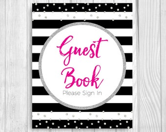 Guest Book Black White Stripes 5x7, 8x10 Printable Bridal Shower, Baby Shower, Wedding Sign - Hot Pink Silver Glitter Confetti Polka Dots
