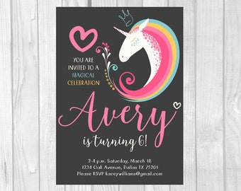 Unicorn Birthday Invitation 4x6 or 5x7 Printable Unicorn Party Invite - Hearts & Rainbow Magical Celebration - Personalized Printable File