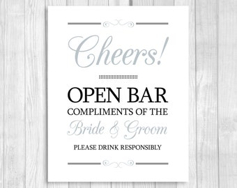 Cheers Open Bar 5x7, 8x10 Printable Wedding Reception Sign - Black and Gray/Silver- Please Drink Responsibly - Instant Download