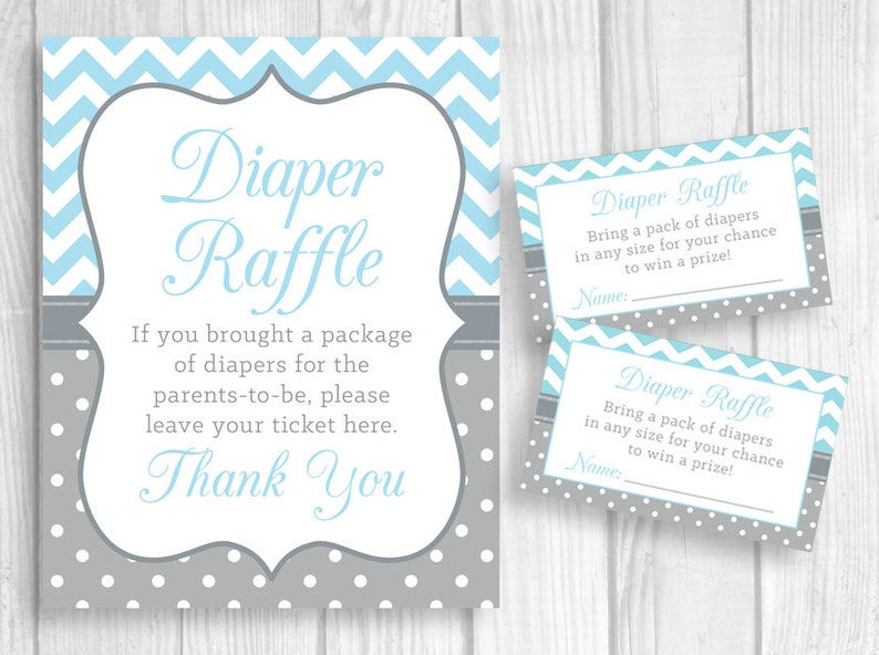 picture about Baby Shower Sign in Sheet Printable named Diaper Raffle 5x7 or 8x10 Printable Little one Shower Signal and Sheet of 3x5 Raffle Tickets - Blue Chevron and Grey White Polka Dots