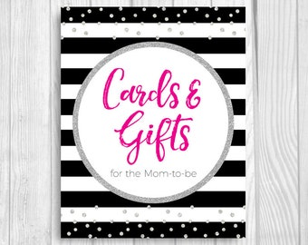 Cards and Gifts for Mom Black and White Stripes 5x7 or 8x10 Printable Bridal Shower Sign - Hot Pink and Silver Glitter Confetti Polka Dots