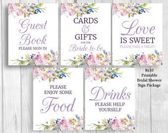 Purple and Lavender Watercolor Flowers Bridal Shower 8x10 Printable Sign Bundle - Guest Book, Gift Table, Favor Table - Instant Download