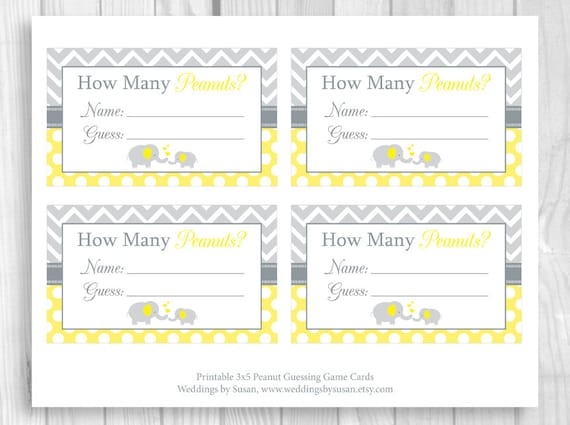 image regarding Baby Shower Sign in Sheet Printable known as SALE Peanut Guessing Video game Printable 5x7 or 8x10 Yellow and