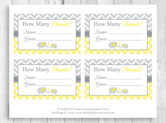 image regarding Baby Shower Sign in Sheet Printable named SALE Peanut Guessing Video game Printable 5x7 or 8x10 Yellow and